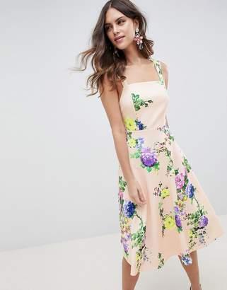 Asos DESIGN midi floral prom dress with square neck