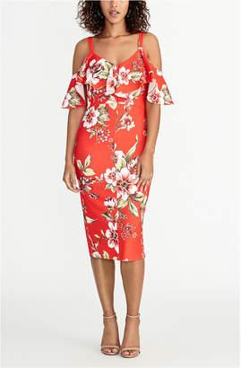 Rachel Roy Off The Shoulder V-Neck Ruffle Dress