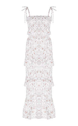 SIR the Label Halsey Smocked Floral-Print Linen Midi Dress Size: 2