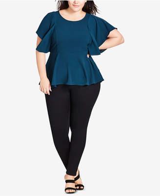 cce3774eb9b City Chic Trendy Plus Size Flutter-Sleeve Peplum Top
