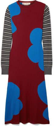 Marni Printed Ribbed Wool Midi Dress - Burgundy