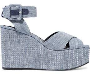 Alice + Olivia Violet Studded Denim Wedge Sandals