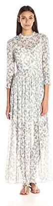 Donna Morgan Women's 3/4 Sleeve Printed Crinkle Chiffon Maxi $178 thestylecure.com