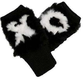Jocelyn Fur-Trimmed Knit Gloves w/ Tags