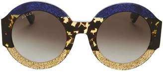 Gucci Oversized Colorblock Glitter Round Sunglasses