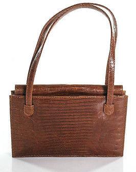 Designer Brown Lizard Snap Close Double Strap Small Shoulder Handbag In Dust Bag