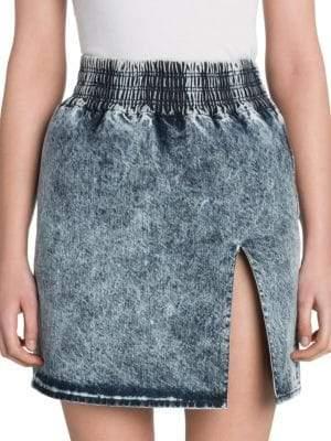 Miu Miu Acid Wash Denim Mini Skirt