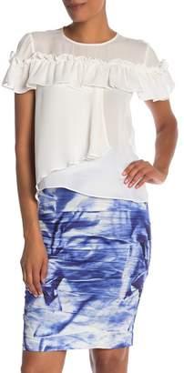 Nicole Miller Ruffle Short Sleeve Blouse
