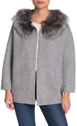 Magaschoni M Genuine Fox Fur Trim Cashmere Cardigan (Petite)