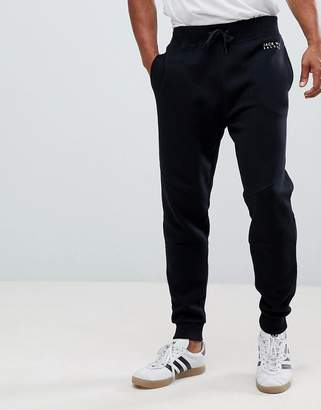 Jack Wills Oakleigh tapered panel sweat joggers in black