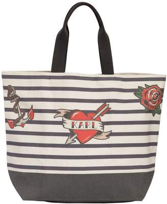 Karl Lagerfeld Captain Cotton Canvas Tote Bag