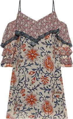 Bailey 44 Endonesia Cold-shoulder Floral-print Georgette Mini Dress