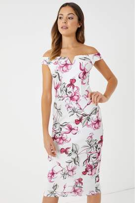 Missguided Womens Floral Bardot Midi Dress - White