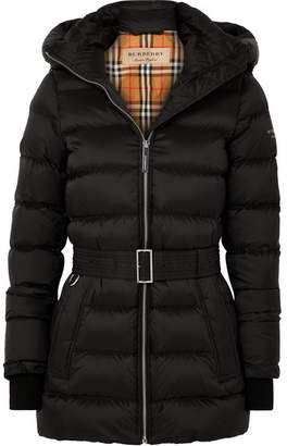 Burberry Hooded Belted Quilted Shell Down Jacket - Black