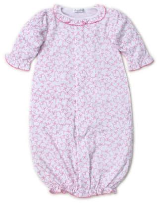 Kissy Kissy Twirly Toes Printed Ruffle-Trim Convertible Sleep Gown, Size Newborn-Small