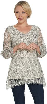 Isaac Mizrahi Live! Bi-Color Lace Peplum Top w/ Blouson Sleeves