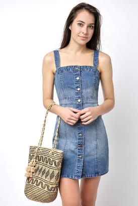 BB Dakota Sleeveless Denim Button Front Slim Mini Dress