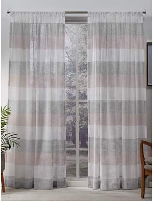 Home Outfitters Bern Sheer Striped Rod Pocket Window Curtain Panels