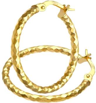 Citerna 9 ct Yellow And White Gold Diamond Cut Crossover Hoop Earrings of 20 mm Diameter A6YU1FG