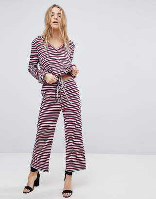 Honey Punch Relaxed Pants In Stripe Co-Ord
