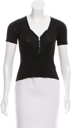Prada Leather-Trimmed Cashmere Top