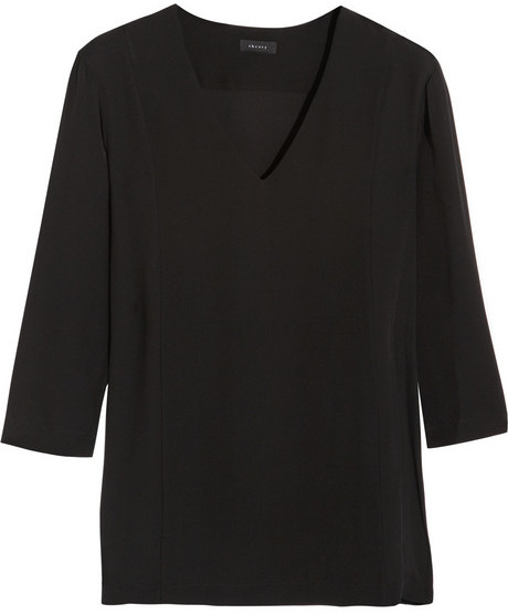 Theory Madlan silk crepe de chine top