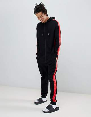 Asos DESIGN onesie with side stripes in black