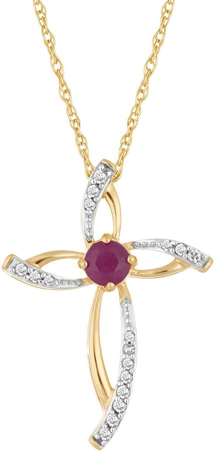 10k Gold Ruby & 1/10 Carat T.W. Diamond Cross Pendant Necklace