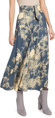 Dries Van Noten Floral Jersey Belted Midi Skirt