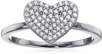 """Crislu Simply Pave"""" Platinum Plated Sterling Silver Cubic Zirconia Heart Ring"""