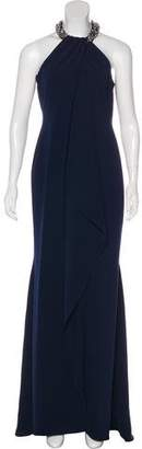 Carmen Marc Valvo Bead-Embellished Evening Dress