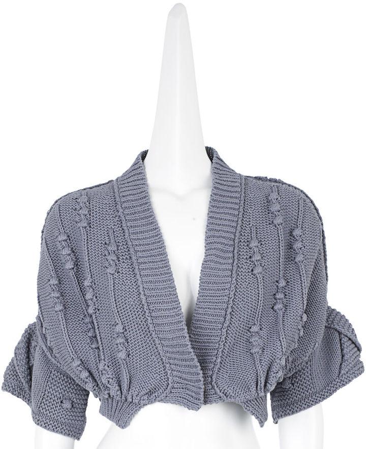 Stella McCartney Organic Hand Knit Shrug - Pale Grey