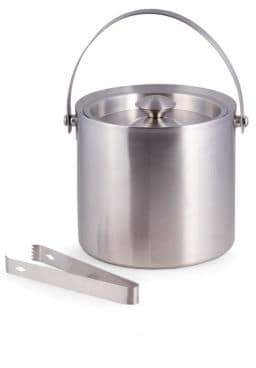 Bey-Berk Stainless Steel Ice Bucket & Tongs Set