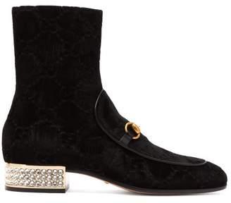 Gucci Horsebit Gg Crystal Embellished Velvet Ankle Boots - Womens - Black