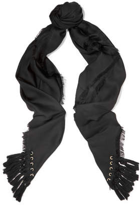 Chloé Tasseled Silk And Wool-blend Scarf - Black
