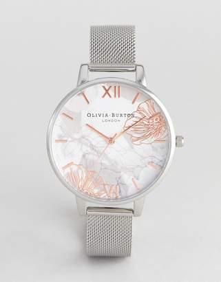 Olivia Burton OB16VM20 Abstract Floral Mesh Watch In Silver