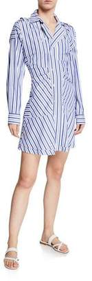 Derek Lam 10 Crosby Striped Poplin Ruffle Shirt Dress