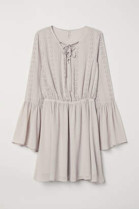 H&M Dress with Eyelet Embroidery - Gray