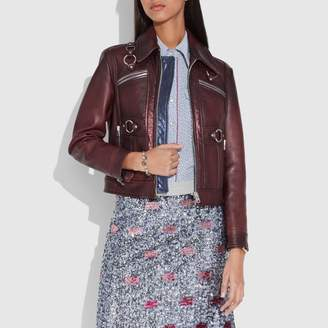 Coach New YorkCoach Burnished Leather Coat With Harness Detail