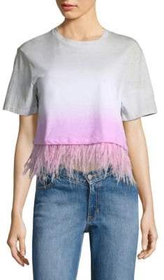 Opening Ceremony Cropped Dip-Dye Feather Cotton Tee