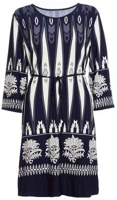Quiz Navy Aztec 3/4 Sleeve Tunic Dress