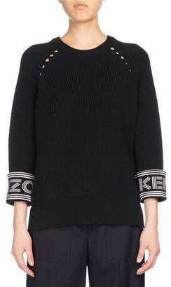 Kenzo Ribbed Sport Comfort Sweater, Black