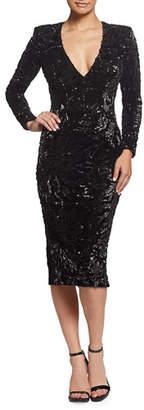 Dress the Population Elizabeth Sequin V-Neck Long-Sleeve Cocktail Dress