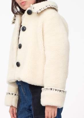 Sea Madeline novelty stitch boxy faux fur coat in cream (XS)