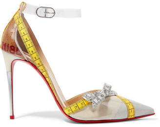 Christian Louboutin Metripump 100 Tape-trimmed Patent-leather And Pvc Pumps - White