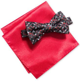 Alfani Men's Multi-Mini Gingham Bow Tie & Solid Pocket Square Set, Created for Macy's