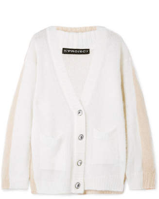 Y/Project Oversized Layered Two-tone Mohair-blend Cardigan - Cream