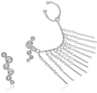 Vince Camuto Asymmetric Rhodium Ear Jacket Earrings