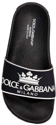 Dolce & Gabbana Crown Embossed Rubber Slide Sandals