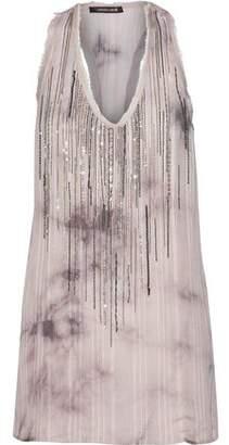 Roberto Cavalli Embellished Tie-Dyed Silk-Jacquard Top